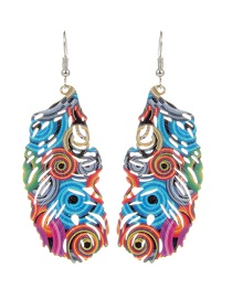 Fashion Multi-color Feather Shape Decorated Color Matching Earrings