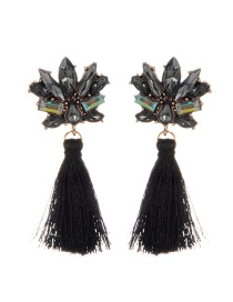 Fashion Black Diamond&tassel Decorated Pure Color Earrings