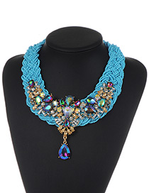 Fashion Blue Bead&diamond Decorated Water Drop Shape Pure Color Necklace