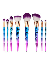 Fashion Pink+blue Color Matching Decorated Simple Makeup Brush(8pcs)