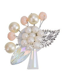 Fashion White Pearl Decorated Leaf Color Matching Brooch