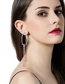 Fashion Pink Diamond Dcorated Circular Ring Shape Pure Color Earrings