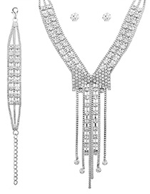 Fashion Silver Color Diamond Decorated Bowknot Shape Pure Color Jewelry Set