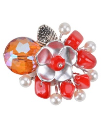 Fashion Red Flower Decoratted Pure Color Simple Brooch