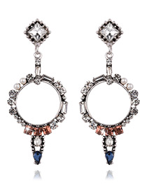 Fashion Multi-color Diamond Decorated Circular Ring Shape Color Matching Earrings