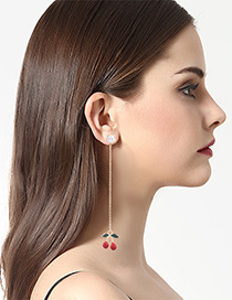 Lovely Red Cherry Pendant Decorated Earrings