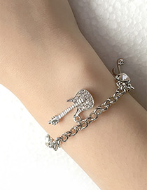 Elegant Silver Color Violin Shape Decorated Bracelet