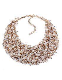 Fashion Milk White Full Diamond&pearls Decorated Necklace