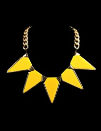 Fashion Yellow Triangle Shape Diamond Decorated Necklace