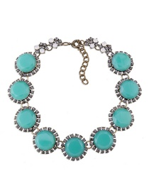 Fashion Blue Round Shape Decorated Pure Color Necklace