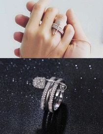Fashion Silver Color Diamond Decorated Paperclip Shape Pure Color Ring