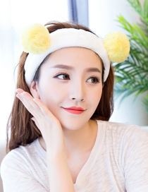 Cute Yellow Fuzzy Ball Decorated Washing Face Hair Band
