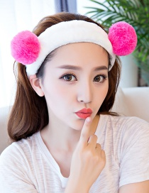 Cute Plum-red Fuzzy Ball Decorated Washing Face Hair Band