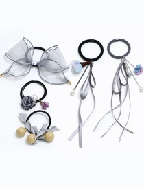 Elegant Gray Bowknot Decorated Hair Band (5pcs)