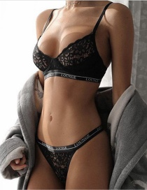 Sexy Black Flower Shape Decorated Hollow Out Pure Color Underwear