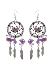 Bohemia Purple Aeolian Bells Decorated Earrings