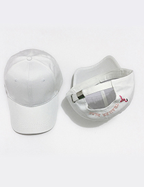 Fashion White Embroidered Flamingo Decorated Adjustable Baseball Cap