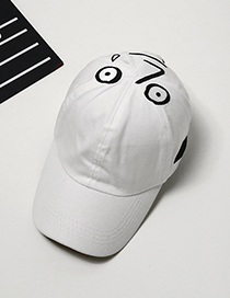Fashion White Funny Expression Decorated Adjustable Baseball Cap