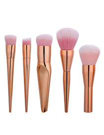 Fashion Rose Gold Pure Color Decorated Brush (5pcs)