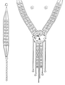 Fashion White Diamond Decorated Tassel Pure Color Jewelry Set