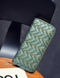 Fashion Green Pure Color Decorated Weave Shape Wallet
