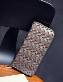Fashion Gray Pure Color Decorated Weave Shape Wallet