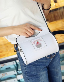 Fashion White Cake Pattern Decorated Pure Color Shoulder Bag