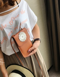 Fashion Brown Flower Shape Decorated Pure Color Shoulder Bag