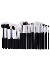Fashion Black Pure Color Decorated Brush (25pcs)