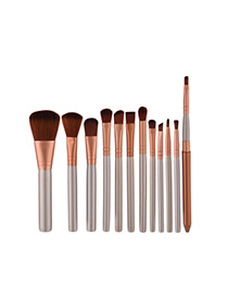 Fashion Gray Pure Color Decorated Brush (12pcs)