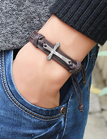 Fashion Brown Cross Decorated Pure Color Bracelet
