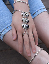 Fashion Silver Color Flower Shape Decorated Pure Color Bracelet