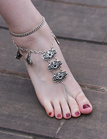 Fashion Silver Color Flower Shape Decorated Pure Color Anklet