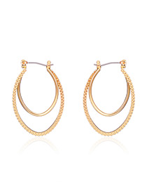 Fashion Gold Color Circular Ring Shape Double Layer Simple Earrings