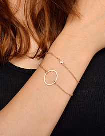 Fashion Gold Color Circular Ring Decorated Double Layer Bracelet