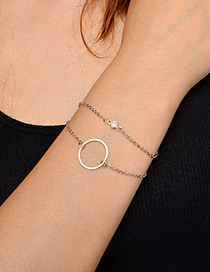Fashion Silver Color Circular Ring Decorated Double Layer Bracelet