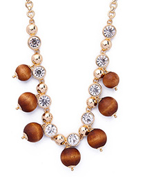Vintage Gold Color+brown Wooden Beads Decorated Simple Necklace