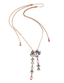 Vintage Multi-color Diamond&flower Decorated Double Layer Necklace