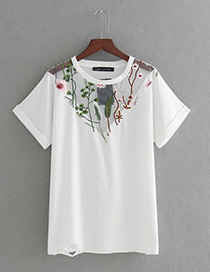 Trendy White Embroidery Flower Decorated Short Sleeves Shirt