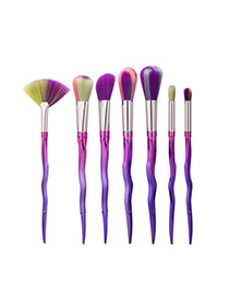 Trendy Multi-color Color Matching Decorated Makeup Brush(7pcs)