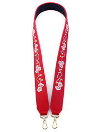 Fashion Red Embroidery Flower Decorated Pure Color Bag Strap
