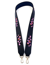 Fashion Black Embroidery Flower Decorated Pure Color Bag Strap