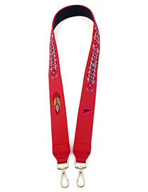 Fashion Red Embroidery Tree Decorated Pure Color Bag Strap