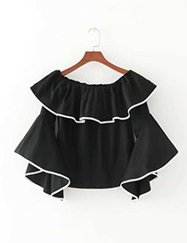 Fashion Black Pure Color Decorated Flare Sleeves Blouse