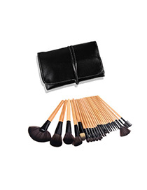 Trendy Black Sector Shape Decorated Simple Makeup Brush(24pcs With Bag)