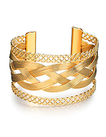 Fashion Gold Color Twist Shape Decorated Pure Colr Bracelet