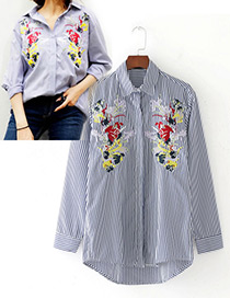 Fashion White+blue Embroidery Flower Decorated Simple Shirt