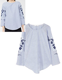 Fashion White+blue Embroidery Flower Decorated Stripe Shirt