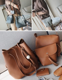 Fashion Brown Tassel Decorated Pure Color Shoulder Bag(4pcs)