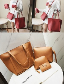 Fashion Light Brown Pure Color Decorated Shoulder Bag(4pcs)